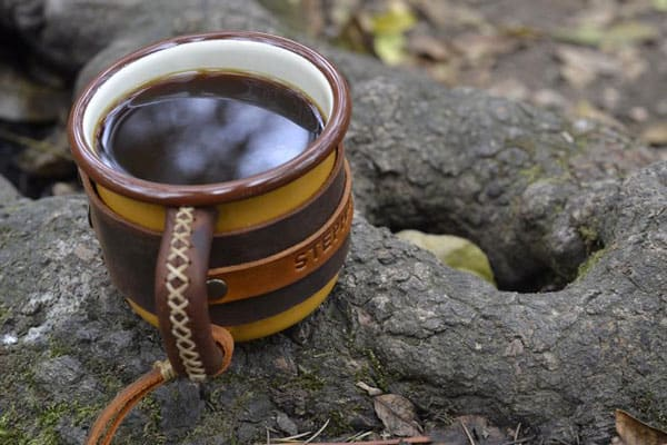 Personalized Leather & Enamel Camping Mugs
