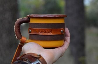 Personalized Leather & Enamel Camping Mugs