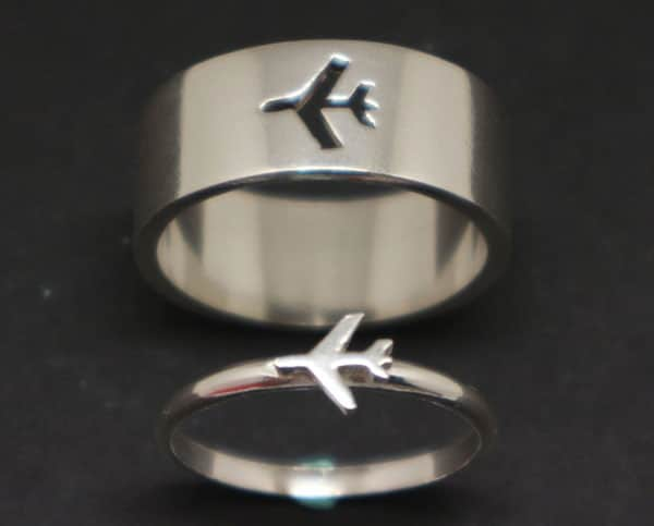 Plane Couples Promise Rings Set