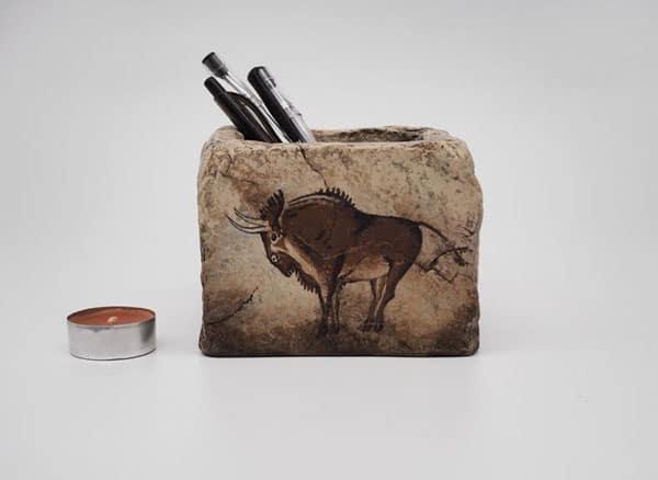 Prehistoric Animal Art Stone pencil holder