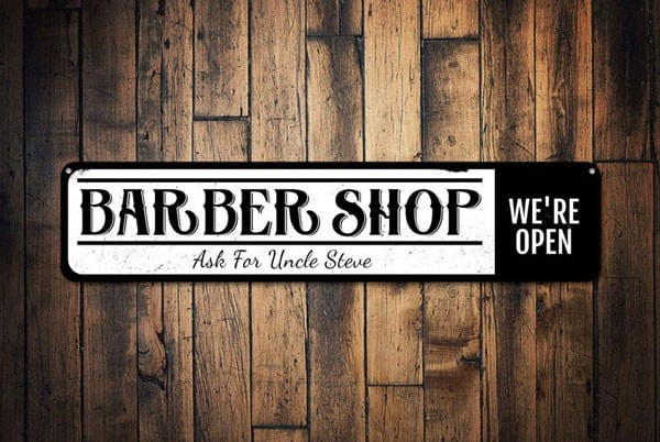 Personalized We're Open Barber Shop Sign - Gifts For Barbers