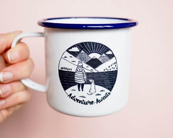 Awesome Dog Walker Enamel Mug