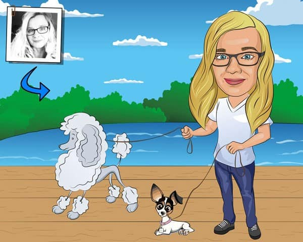 Dog Walker Gift - Custom Caricature Portrait From Your Photo