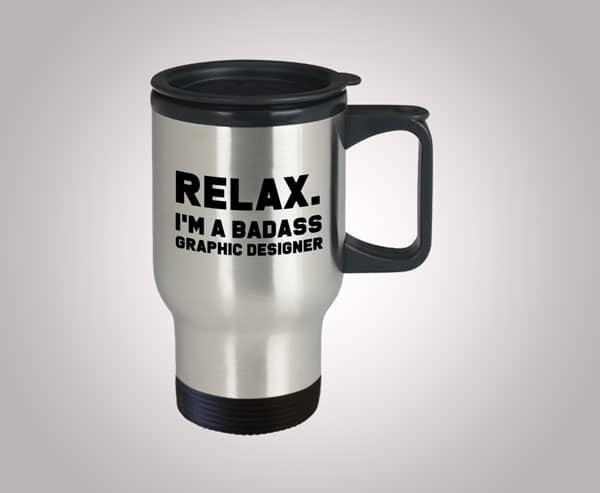 Funny Badass Graphic Designer Travel Mug