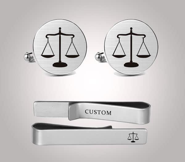 Judge Cufflinks and Tie Clip Set