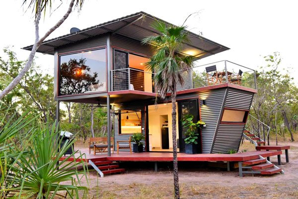 Modern 2-Story Shipping Container Air BnB Getaway
