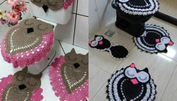 Crochet Owl Bathroom Set Toilet Covers