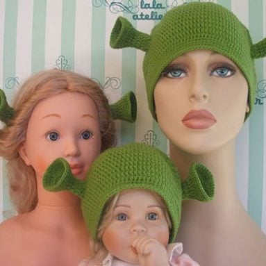 Crocheted Ogre Family Shrek Hats