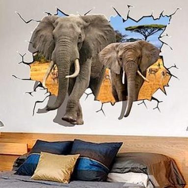 Elephant Breaking Through Wall Decals