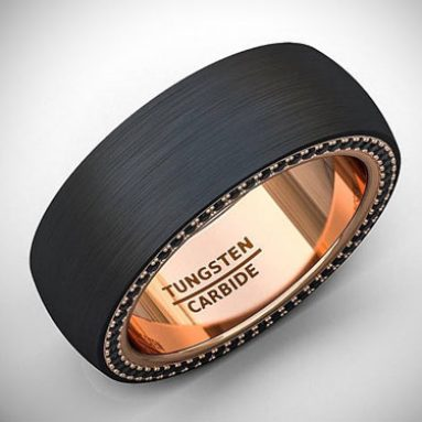 Flat Edge Black Tungsten Ring