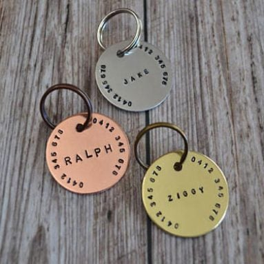 Hand Stamped Pet Name ID Tags