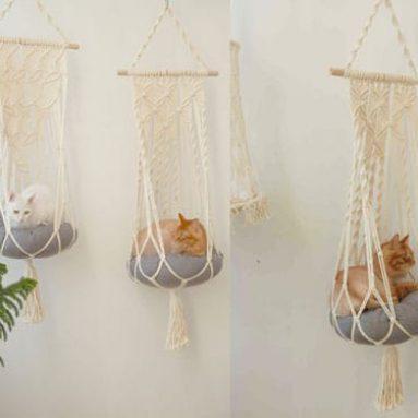 Hanging Macramé cat hammock Bed
