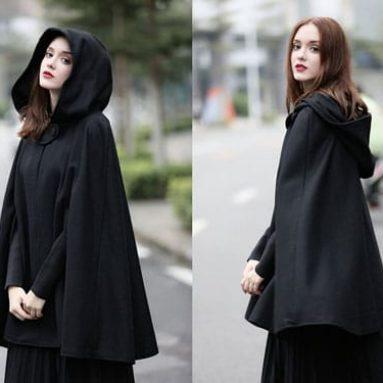Hooded Wool Cloak Capes