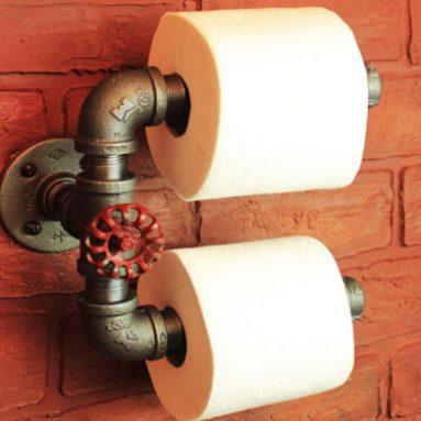 Industrial Pipe Double Roll Toilet Paper Holder