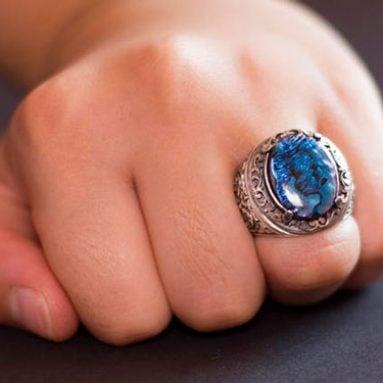Men's Sterling Silver Aquamarine Gemstone Ring