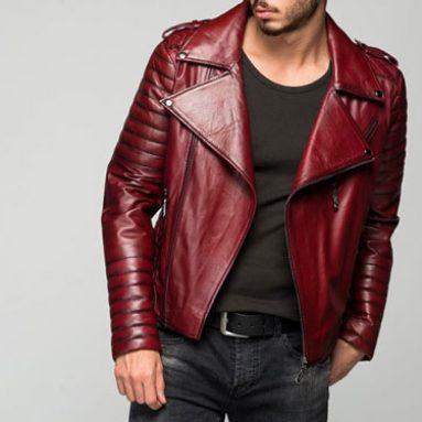 Stylish Men's Borvona Claret Red Leather Jacket