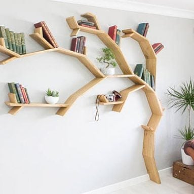 Windswept Oak Tree Bookshelf